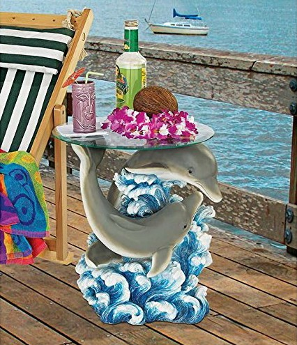 Dolphin Cove Glass-Topped Sculptural Table