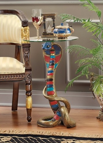 Egyptian cobra accent table