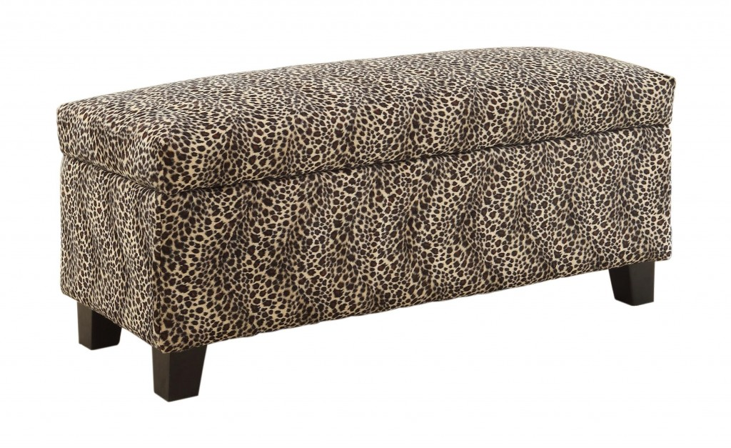leopard storage bench
