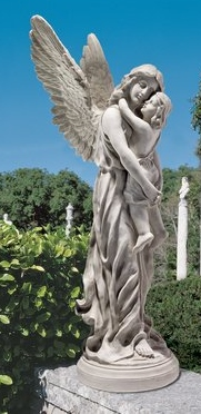 angel holding child statue for sale