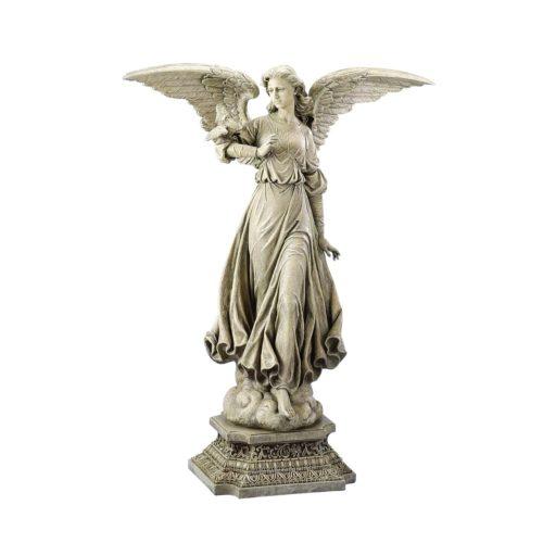 Standing Angel on a Pedestal Garden Statue
