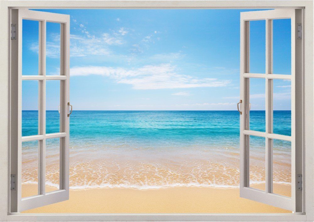 3D Unique Ocean View Window Wall Decal