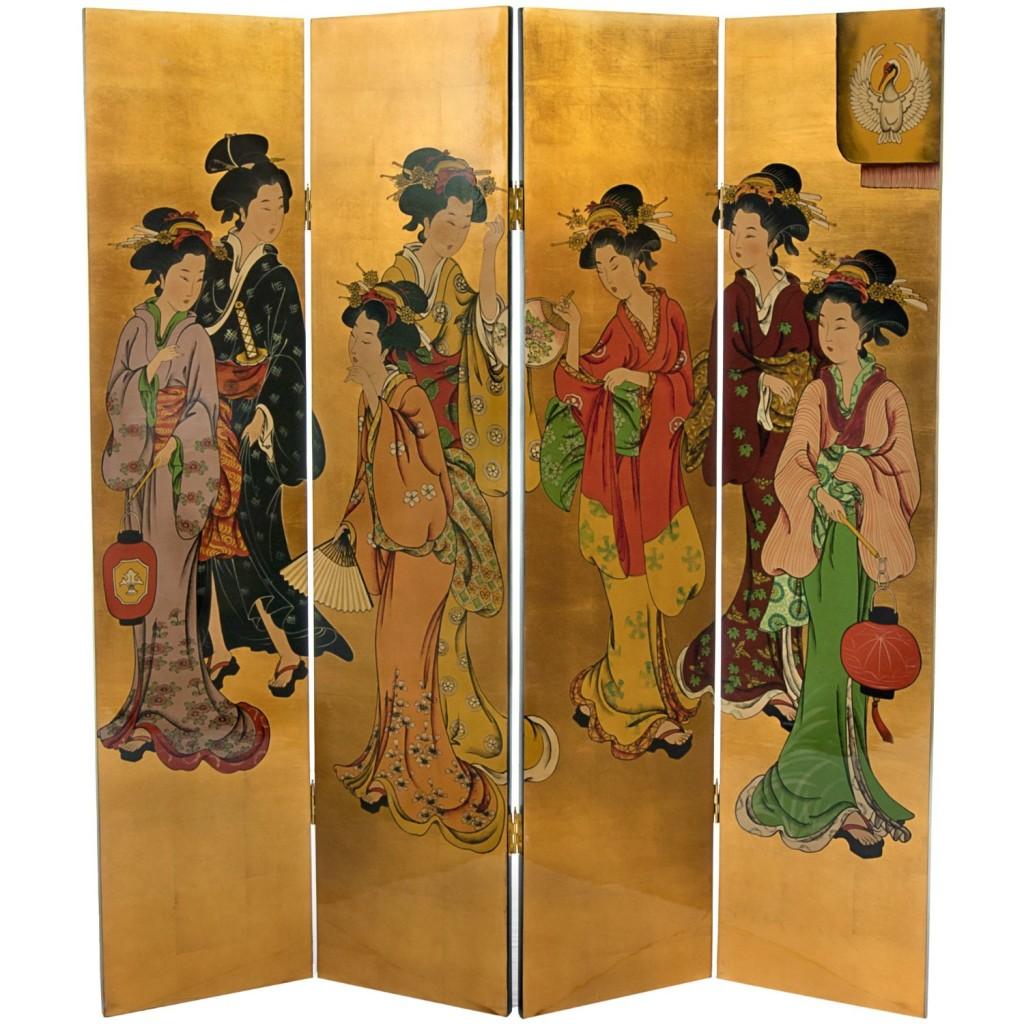 Golden Ladies Chinese Lacquer Oriental Decorative Oriental Art Screen
