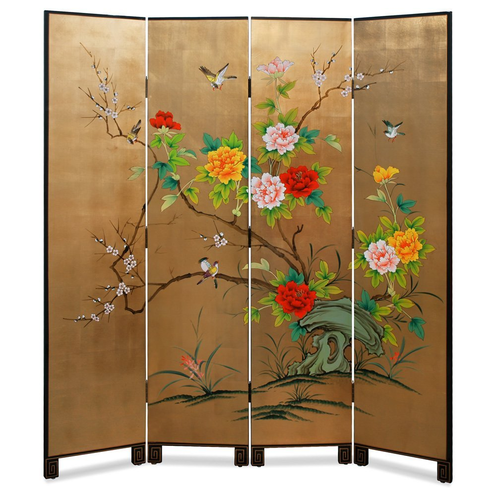 Gold Leaf Bird and Flower Motif Asian Floor Screen