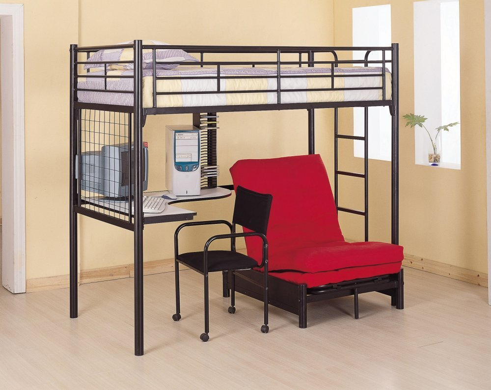 Metal Bunk Bed with Futon/Desk/Chair and CD Rack