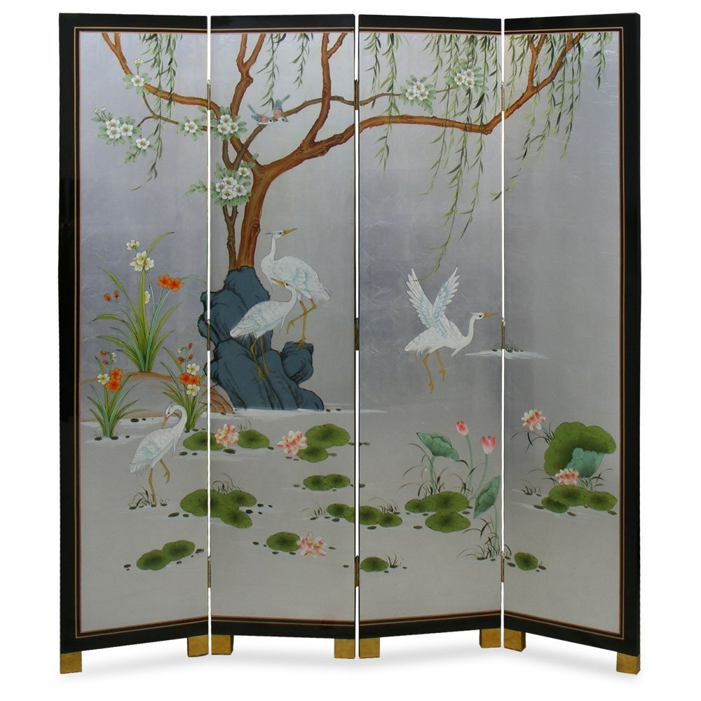 Cranes and Willow Silver Leaf Floor Screen