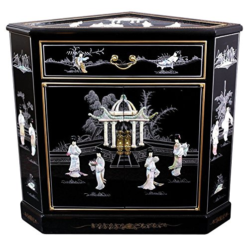 Asian Furniture and Decor 32-Inch Japanese Large Lacquered Oriental Corner Cabinet