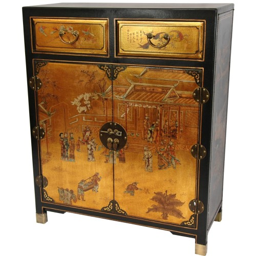 Two Drawer Oriental Shoe Cabinet
