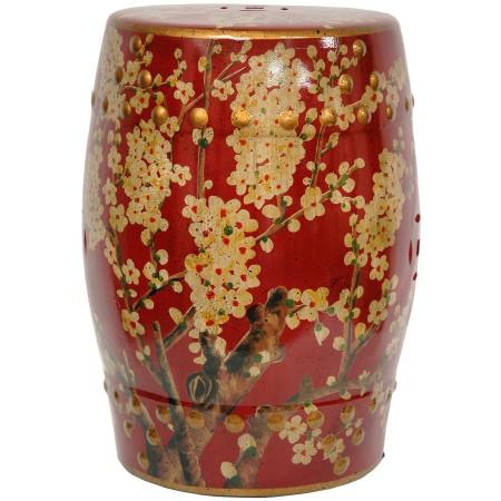 Red Oriental Garden Stool