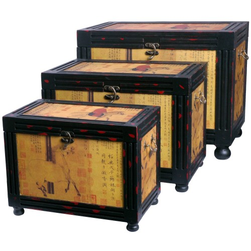 Oriental Storage Boxes, Nested, Set of Three