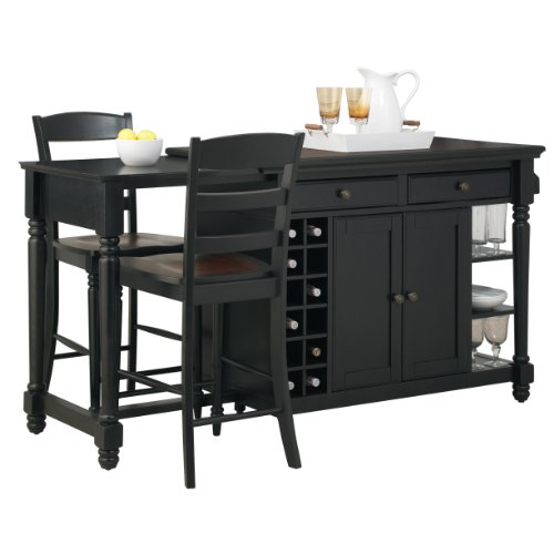 Black Kitchen Island with Storage Cabinet, Wine Rack and 2 Stools