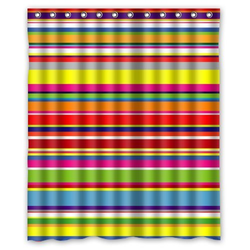 Cool and Colorful RAINBOW Stripes Shower Curtain