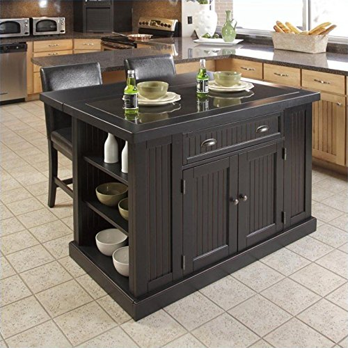 Granite Top Black Kitchen Island and Stools