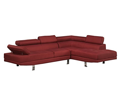 RED Blended Linen 2-Piece Sectional Sofa with Functional Armrest and Back Support
