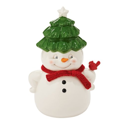 Adorable Porcelain Snowman Cookie Jar