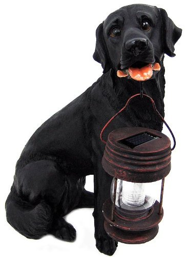 TWO Black Labrador Dogs With Solar Powered Classic LED Lantern