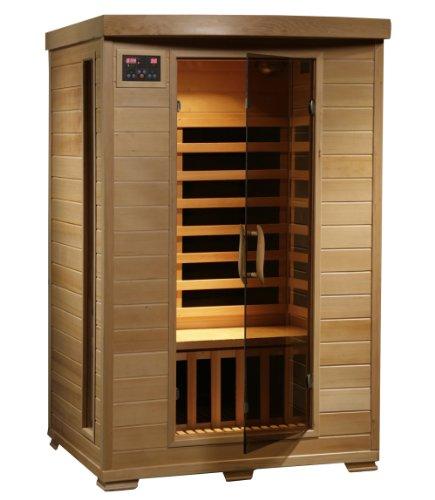 Cute 2-Person Hemlock Wood Infrared Home Sauna