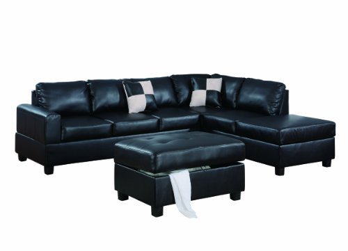 Gorgeous Black Bonded Leather 3-Piece Sectional Sofa