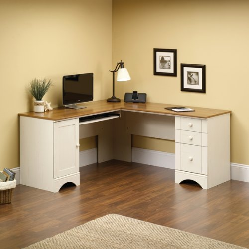 Cute Corner Computer Desk, Antiqued White
