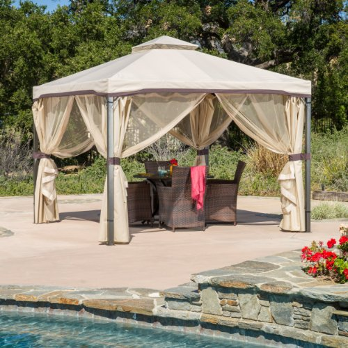 Affordable Outdoor Iron Gazebo Canopy with Net Drapery