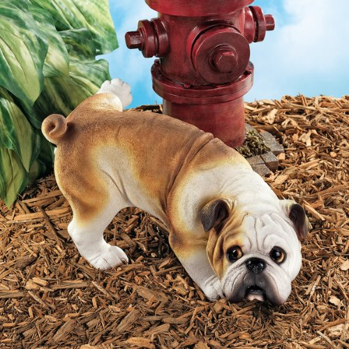 Funny Peeing Bulldog Statue
