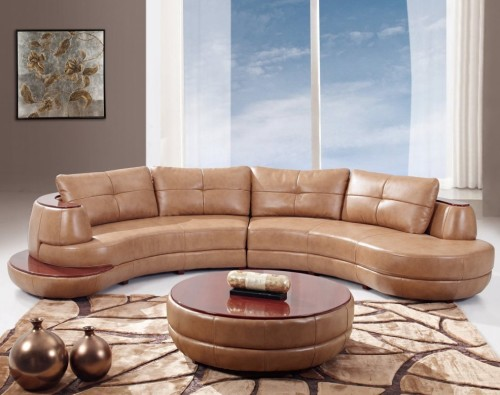 Fancy Bonded Leather Sectional Sofa, Honey