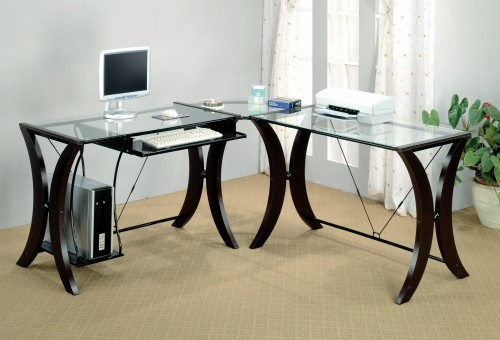 L-Shape Home Office Computer Desk, Cappuccino Finish Base, Glass Top