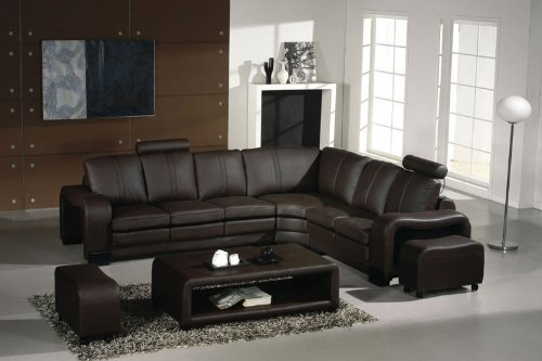 Espresso Italian Leather Sectional Sofa Set