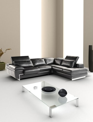 Beautiful Black Italian Leather Sectional Sofa With Adjustable Headrests