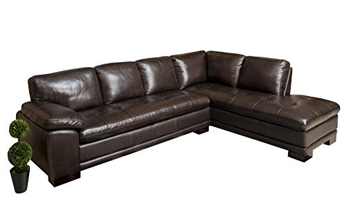 Beautiful Dark Brown Premium Italian Leather Sectional Sofa