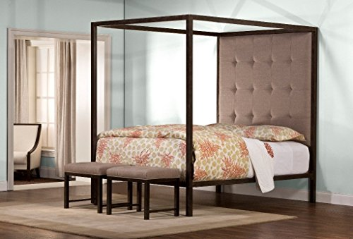 Unique King Size Canopy Bed with Padded Headboard