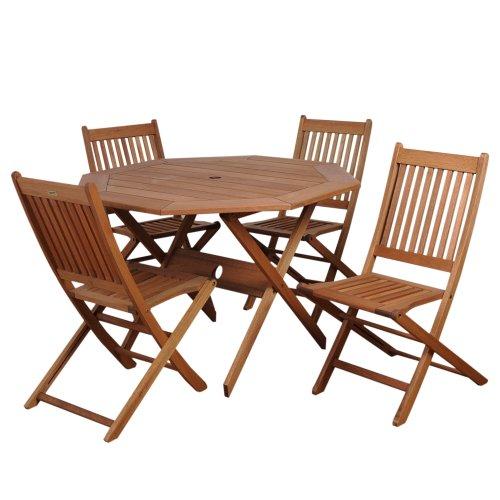 5-Piece Solid Eucalyptus Wood Octagon Table Patio Set