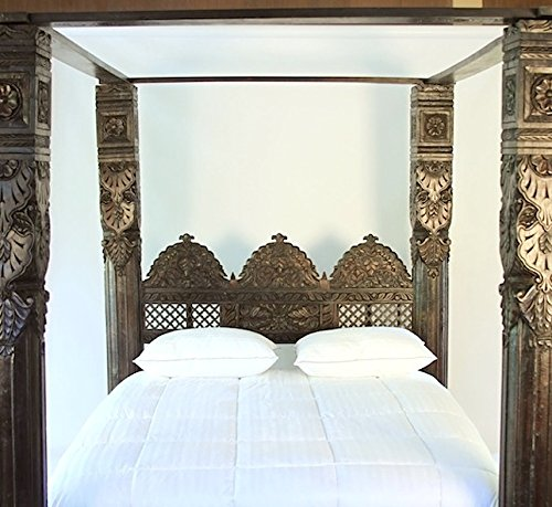 Indian White Rosewood Pillar Canopy Bed