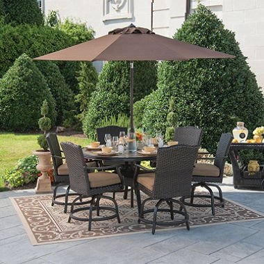 Stunning 7-piece Balcony Height Dining Set with Premium Sunbrella Fabric