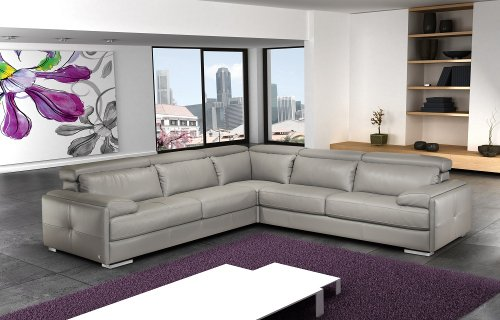 Ash Grey Full Top Grain Italian Leather Sectional Sofa