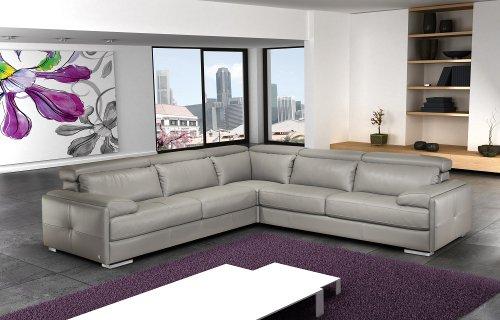 Ash Grey Full Top Grain Italian Leather Sectional Sofa