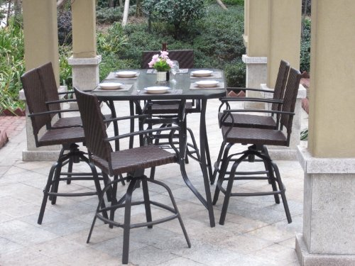 7pc Handwoven Outdoor Wicker Patio Bar Dining Set