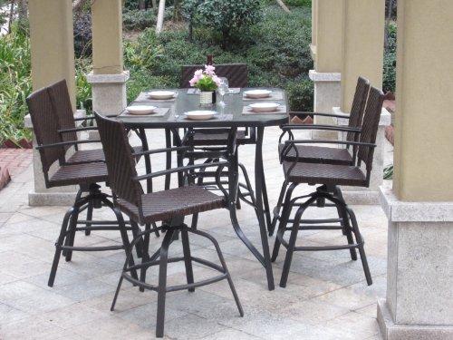 7pc Handwoven Outdoor Wicker Patio Bar Dining Set