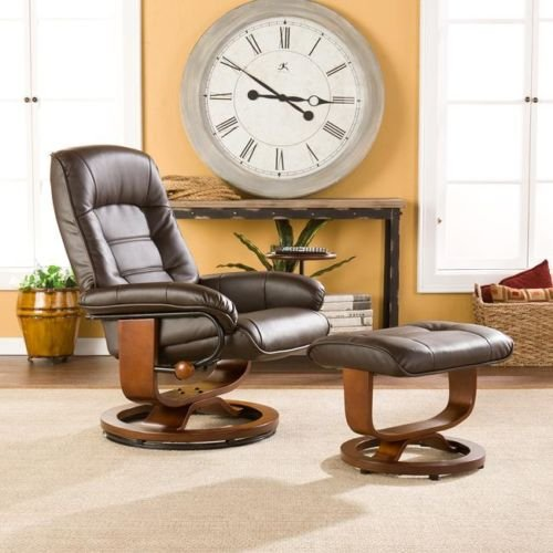 Comfortable Leather Recliner and Ottoman Set