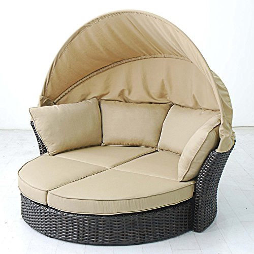Creative Round Wicker Daybed Love Seat