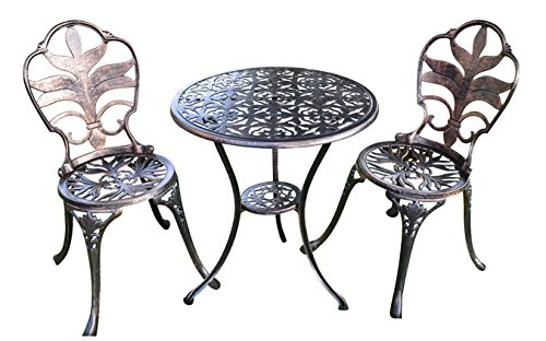 Antiqued Bronze Garden Bistro Set with Stylish Leaf Motif Design