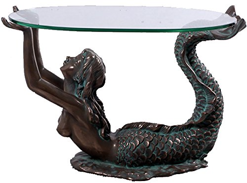 Small Mermaid Table with Glass Bronze Finish