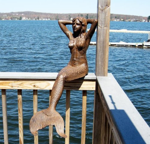 Large Sitting Mermaid Statue Iron Rust Finish