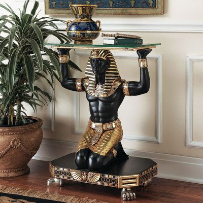 Impressive Servant to the Pharaoh Glass-Topped Console Table