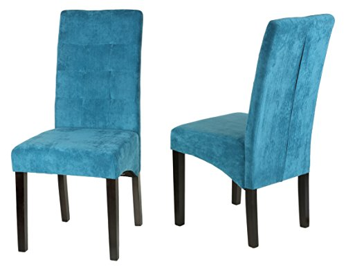 Comfy Blue Microfiber Dining Chairs