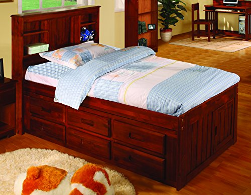 Twin Size Bookcase Wooden Bed with Drawers