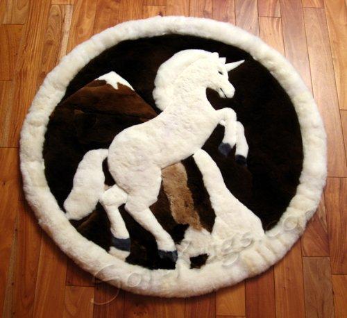 Stunning Prancing Unicorn Round Area Rug