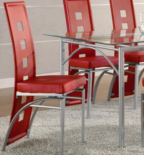 Modern Set of 2 Red Dining Chairs