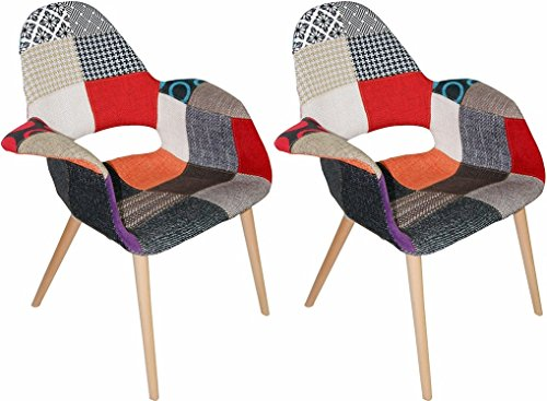 Unique Colorful Patchwork Pattern Dining Chairs