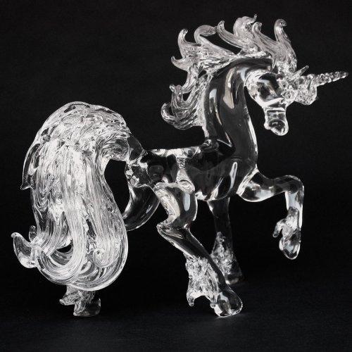 Hand Blown Glass Unicorn Prancing Crystal Figurine